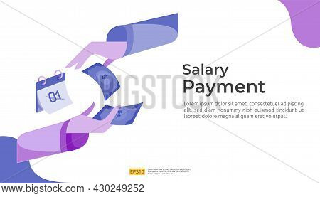 Salary Payment And Payroll Illustration Concept For Annual Bonus, Income, Payout With People Charact