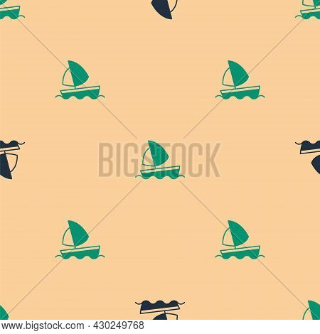 Green And Black Yacht Sailboat Or Sailing Ship Icon Isolated Seamless Pattern On Beige Background. S
