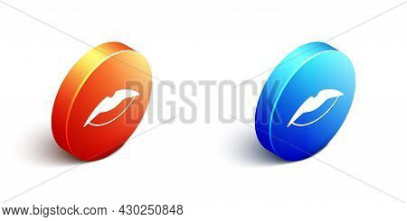 Isometric Smiling Lips Icon Isolated On White Background. Smile Symbol. Orange And Blue Circle Butto