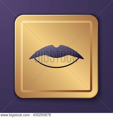 Purple Smiling Lips Icon Isolated On Purple Background. Smile Symbol. Gold Square Button. Vector