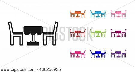 Black French Cafe Icon Isolated On White Background. Street Cafe. Table And Chairs. Set Icons Colorf