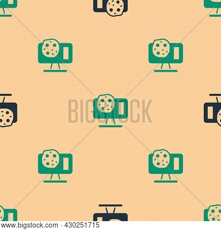 Green And Black Genetic Engineering Modification On Laptop Icon Isolated Seamless Pattern On Beige B