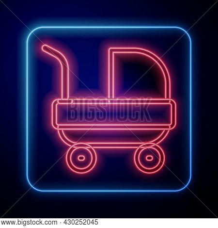Glowing Neon Baby Stroller Icon Isolated On Black Background. Baby Carriage, Buggy, Pram, Stroller,