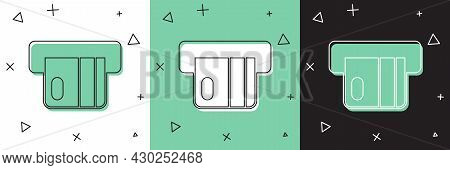 Set Credit Card Inserted In Card Reader Icon Isolated On White And Green, Black Background. Atm Cash