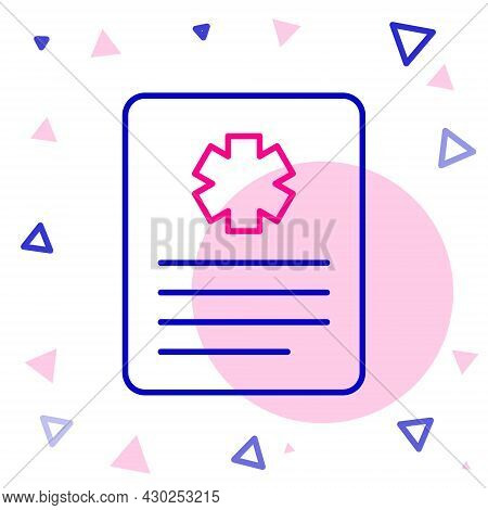 Line Medical Clipboard With Clinical Record Icon Isolated On White Background. Prescription, Medical
