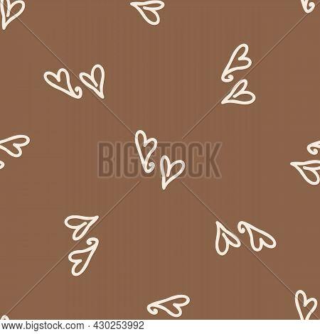 Seamless Background Heart Gender Neutral Pattern. Whimsical Minimal Earthy 2 Tone Color. Kids Nurser