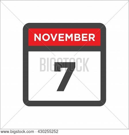 November 7 Calendar Icon W Day Of Month