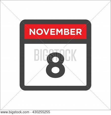 November 8 Calendar Icon W Day Of Month