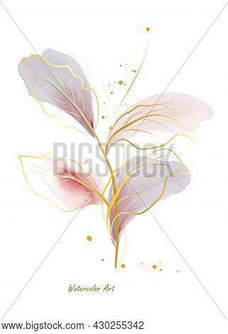 Watercolor Natural Art Invitation Card Of Gold Line Gentle Leaves Decorated With Gold Deops. Art Bot