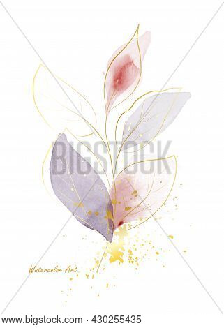 Watercolor Natural Art Invitation Card Of Gold Line Gentle Leaves Decorated With Gold Splash. Art Bo