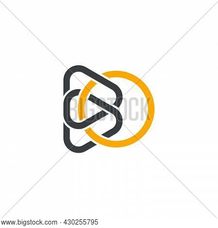 Letter Bo Colorful Curve Lines Art Simple Logo Vector