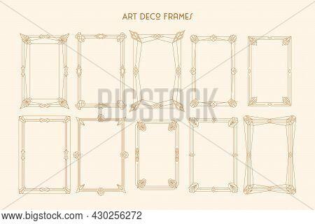 Art Deco Frames Set In Trendy Minimal Liner Style. Vector Borders In 1920s Style