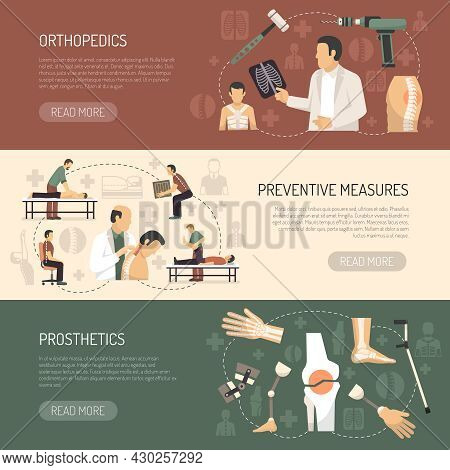 Orthopedics And Traumatology Horizontal Banners With Advertising Of Prosthetics And Preventive Measu