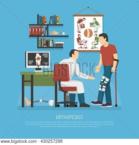 Orthopedics Design Concept With Doctor In Workplace Examining Patient On Crutches Flat Vector Illust