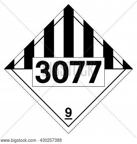 Un3077 Class 9 Environmentally Hazardous Substances Solid  Symbol Sign ,vector Illustration, Isolate