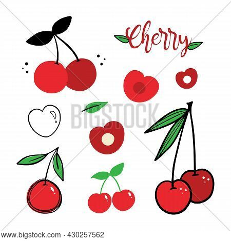 Set, Collection Of Red Cherries Icons, Illustration In Different Designs. Cartoon, Outlined, Doodle