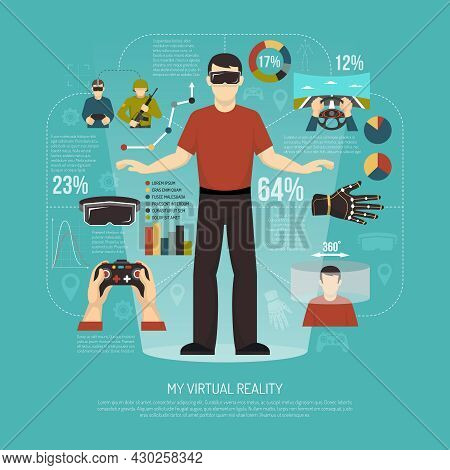 Virtual Reality Vector Illustration With Gamer Wearing Augmented Reality Glasses Joystick Wired Glov