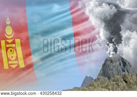 Volcano Blast Eruption At Day Time With White Smoke On Mongolia Flag Background, Problems Of Natural