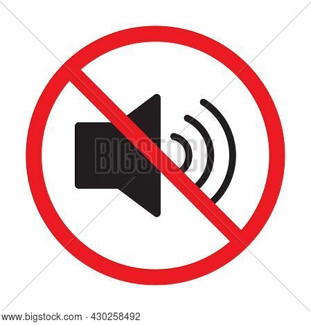 Forbidden Sign With Loudspeaker Glyph Vector Flat Icon. Indicating Signal To Noise Ban. Speaker With