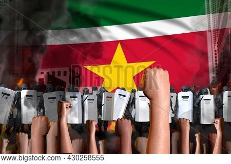 Protest In Suriname - Police Swat Stand Against The Protestors Crowd On Flag Background, Riot Stoppi