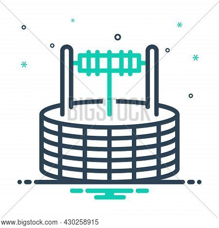 Mix Icon For Well Borehole Waterhole Pit Water Deep Village Agricultural Antique Nature Draw-well Dr