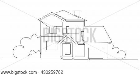 One Continuous Line Drawing Of Family Country House With Bushes At Village. Modern Concept Of Home A