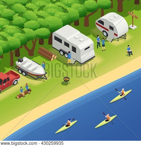Canoeing Kayaking Rafting Recreation Riverbank Campsite Isometric Composition With Campers Camping T