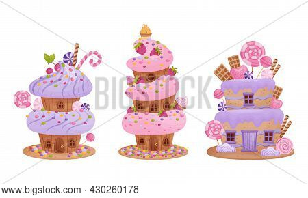 Cute Pink Sweet Candy Houses Set. Lovely Cottages Made Of Sweets Cartoon Vector Illustration