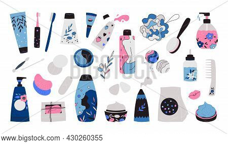 Skincare Products. Cartoon Bottles And Jars Of Beauty Cosmetics. Isolated Shampoo And Lotion. Bathro