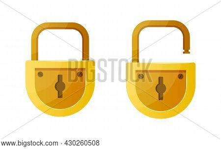 Open And Closed Lock. Cartoon Data Encryption And Home Security Symbol. Golden Padlock Shape Design