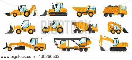 Construction Trucks. Heavy Industrial Vehicles For Digging, Mining, Lifting And Transportation. Buil