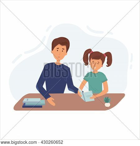 Illustration Of A Father Praising His Daughter After He Finished His Homework. Lesson With Mom Or Tu