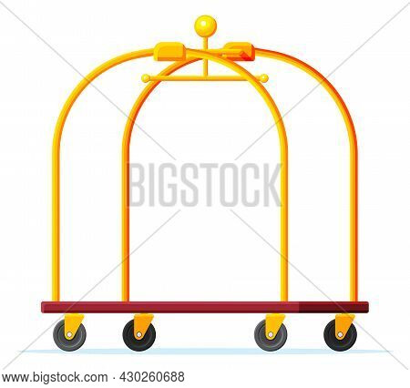 Empty Hotel Luggage Cart. Hotel Baggage Trolley Without Bags Isolated. Handtruck For Transportation