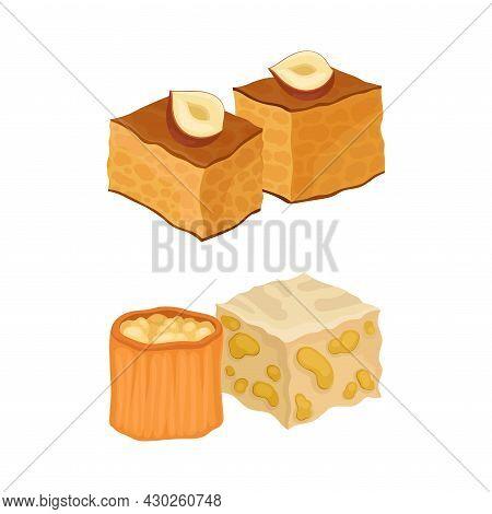 Oriental Sweets Set. East Cuisine Desserts Cartoon Vector Illustration