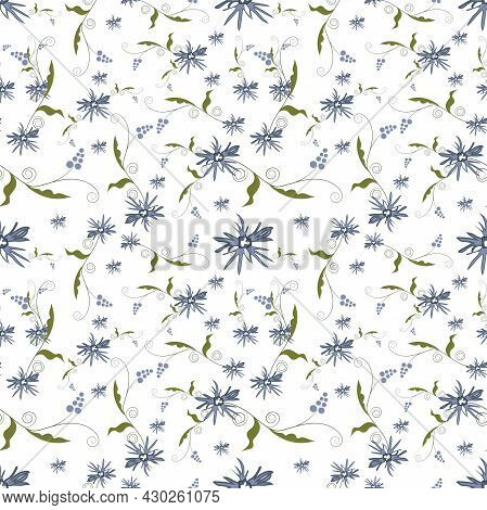 Summer Flowers And Leaves Pattern Seamless. Abstract Blue Wildflower And Curls Of Peas With Leaves E