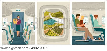 People Sit In Airplane While Flying Vector Illustration Set. Air Plane Cabin Interior. Flight Attend