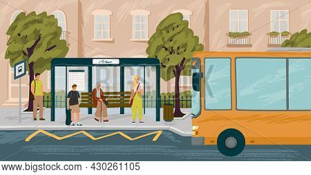 People Waiting In Queue On Bus Stop Vector Illustration. Bus Arriving To Station. Urban Transport Co