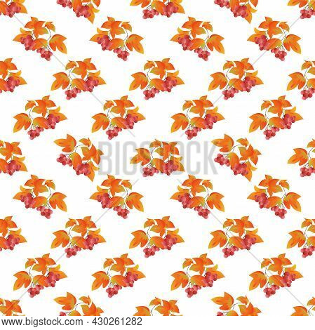 Autumn Leaves Pattern Seamless. Rowan Twigs With Orange Leaves, Fall Berries Branches Repeating Endl