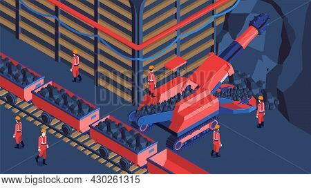 Underground Mine Crushing Machinery Ore Removing Transporting To Surface Miners In Red Uniform Isome