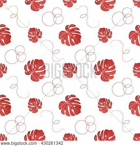 Autumn Leaves Pattern Seamless. Abstract Exotic Red Monstera Leaves And Geometric Shapes Endless Orn