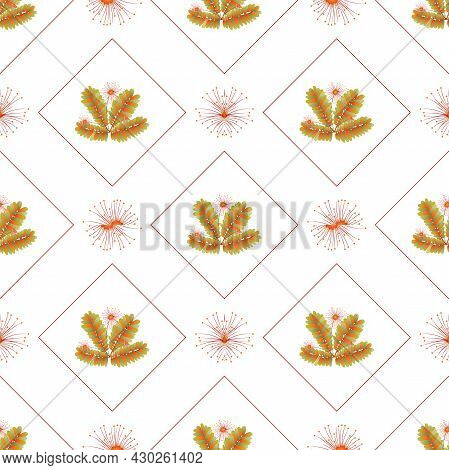 Autumn Leaves Pattern Seamless. Abstract Fall Flowers And Leaves In Geometric Shapes At Endless Orna