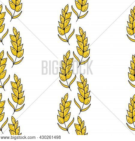 Seamless Pattern Of Bright Yellow Spikelets Arranged In Vertical Rows On A White Background Vector I