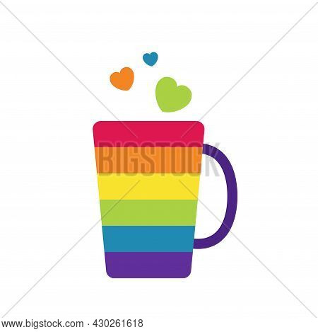 Lgbtq Community Symbol Of Rainbow Colored Cup With Hearts Isolated. Concept Of Lgbt People Element.