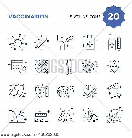 Vaccination And Immunization Line Icon Set. Collection Of Linear Symbols. Vaccines Against Virus, Va