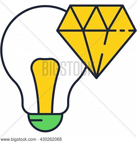 Fresh Brilliant Idea Icon Vector Gem Lightbulb