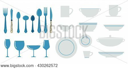 Kitchen Utensils. Cartoon Kitchenware With Spoon Knives And Forks. Isolated White Dishes. Blue Cutle