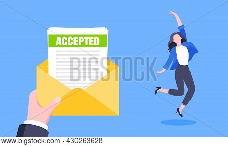 Job Or University Acceptance Letter With Envelope And Paper Sheets Document Email. Employment Offer,