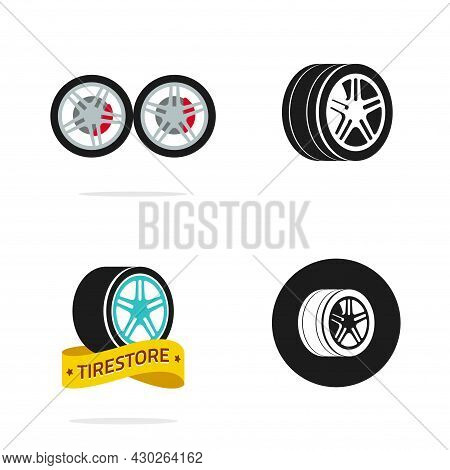 Tire Shop Vector Logo Or Tyre Wheel Store Icons Flat And Black And White Emblems Vector Isolated Cli