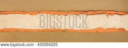 paper abstract in brown, orange and beige with a copy space - sheets of handmade paper, diagonal blank web banner, panoramic web banner