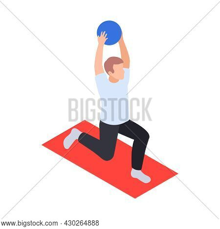 Physiotherapy Rehabilitation Isometric Composition With Man Performing Exercises With Ball On Mat Ve